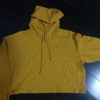 Mustard yellow cropped hoodie