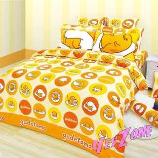 Yes Zone 卡通精品 sanrio正版梳乎蛋Gudetama蛋黃哥懶蛋蛋 三件套床笠純棉被套四件套床單A
