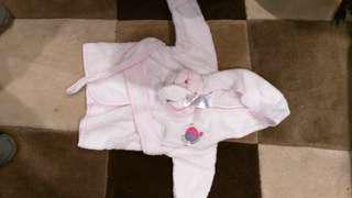 Nearly new baby bathrobe with booties