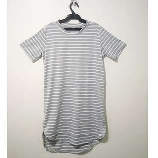 Gray and white striped dress small size