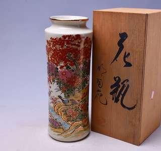 明陶制描金彩繪錦雞花卉紋九谷燒瓷花器