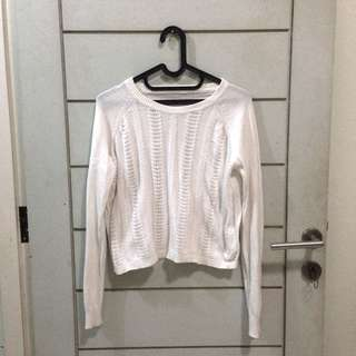 Embroidery White Sweater Top Lace