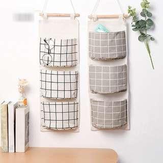 Kantong gantung 3 slot motif grid
