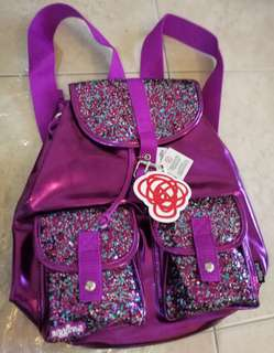 Smiggle Metallic Glitter School Backpack Purple