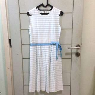 TLC Shop Lookalike Stripes Blue Ribbon Midi Dress