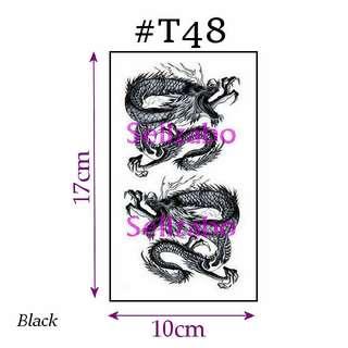 #T48 Fake Temporary Body Tattoo Stickers Washable Wash Off Print Sellzabo Patterns Designs Tatoo Tatto Tattoo Accessories Black Colour Fierce Animals Dragons 龙 Naga