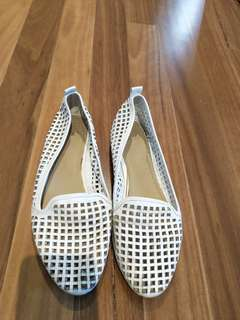 White loafer flats