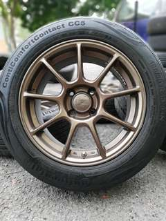 Rays Ze40 15 inch sports rim myvi tyre 70%. *mora mora jeee*