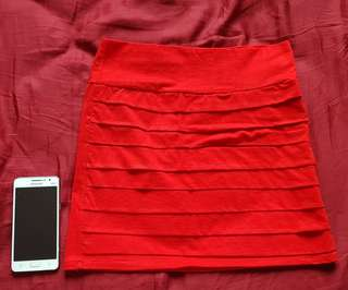 Rok mini dress merah bright