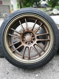 Rays re30 17 inch sports rim civic fd tyre 80%. *mora mora kasi you*