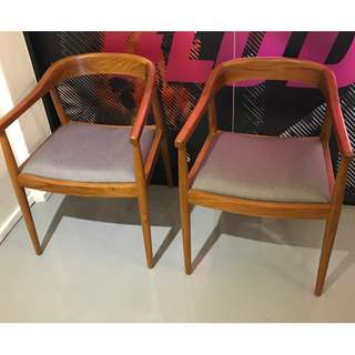 2 vintage style curved back chairs with grey cushion