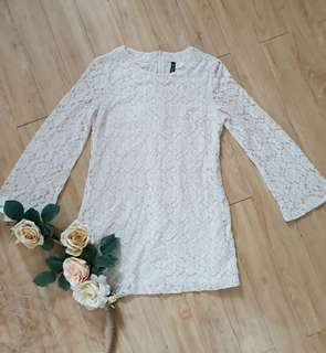 Cream Vintage Lace Straight Dress
