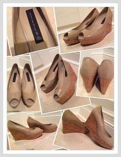 JUST REDUCED!!!!!✨Brand New Steve Madden Peep-Toe Nude Wedges  (size 8)...BUT...(Can also fit a size 7 1/2)