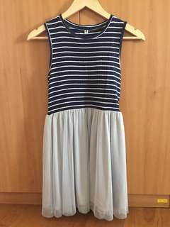 Navy Blue and Grey Dress with Striped Top