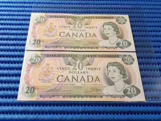 2X 1979 Canada $20 Twenty Dollars Note 56766827294 - 55766827295 Run Dollar Banknote Currency