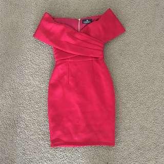 Winter Off The Shoulder Royal Red Dress