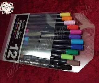 M&G Dual Tip Waterbased Brush Pen Set of 12 + FREE Calligraphy Worksheets