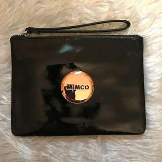Mimco Black Patent Leather Pouch with Rose Gold Badge