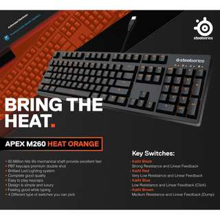 SteelSeries Apex M260 (Heat Orange) Keyboard - Blue Switch