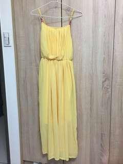 🚚 女神海灘度假風黃色洋裝