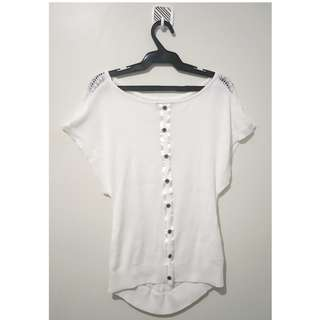 Ms Couture White shirt with lacy back