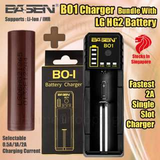 Basen BO1 Single Slot Rapid Charger Bundle With LG HG2  3000mAh 20A 18650 Battery