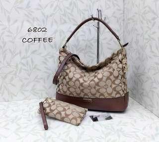 Coach Handbag 2 in 1 Coffee Color
