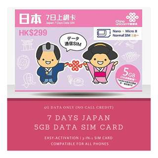 🚚 JAPAN 4G Data SIM Card (7 Days - 5GB)