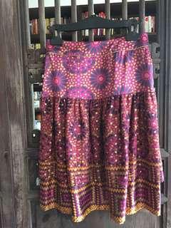 Level 6 紐約品牌 純絲民俗風印花裙