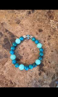 Aqua color stone bracelet with charm