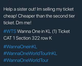 WTS Wanna One in KL CAT 1 Ticket