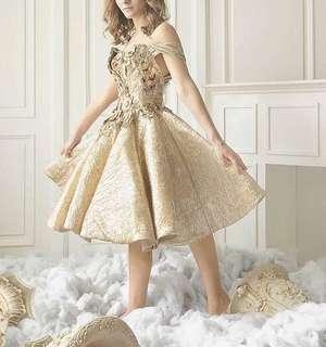 Sabrina gold dress