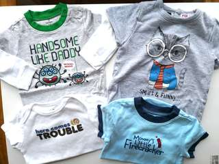 Preloved OLD NAVY Bundle Set of 3 + 1 Assorted Funny Quotes Baby Onesies - in excellent condition