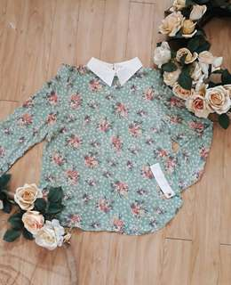 Floral Print Mint Green Long Sleeve Blouse with Collar