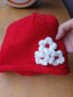 🚚 出清!全新女童正紅色小花針織毛線帽