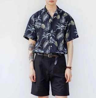 🚚 (現貨S)復古俏皮鳳梨印花襯衫Flower shirt Hawaiian shirt