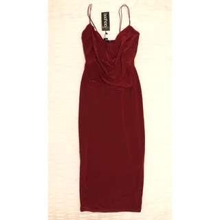 Size 10 | Burgundy Cowl Neck Dress