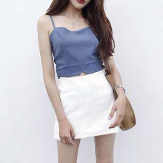 korean ulzzang blue cropped top w/ spag strap