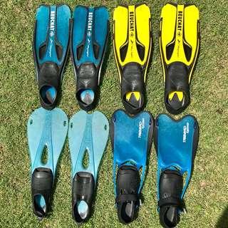 Lot of 4 Diving Fins + 3 Sets of Mask & Snorkels