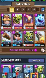 PB 5661 Clash Royale Account with Maxed Bait Decks  (Lvl 4 legends, Maxed Commons)