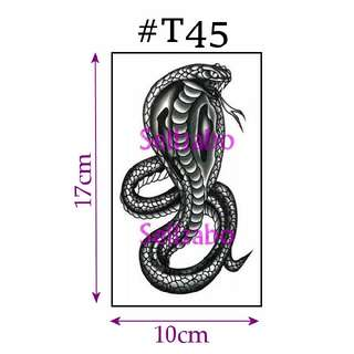 #T45 Fake Temporary Body Tattoo Stickers Washable Wash Off Print Sellzabo Patterns Designs Tatoo Tatto Tattoo Accessories Black Colour Fierce Animals Snake Cobra 眼镜蛇 Ular