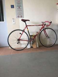 Vintage Raleigh road bike with tubular wheels
