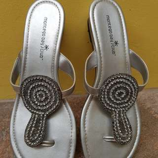 Payless silver slip-ons