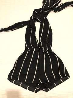Size 6 | Black & White Stripe Multiwrap Playsuit