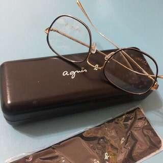 🚚 全新 正品 Agnes b. 文青 必備 鏡架 鏡框 眼鏡 復古 古著 中性 男女都可