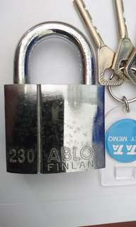 2 X MODEL 230 ABLOY PADLOCKS with 3 key-alike ( MADE IN FINLAND)