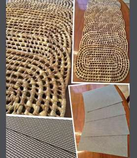 """6 handwoven 17""""x11"""" placemats purchased in Ocho Rios,Jamaica,and 4 silver/grey placemats Excellent new condition"""