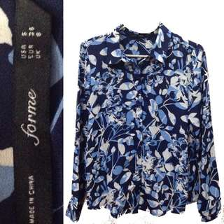 New:FOR ME blue floral longsleeves polo sexy back