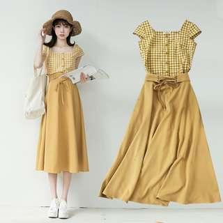 A1331🌸2色*氣質格紋上衣+綁帶長裙二件套