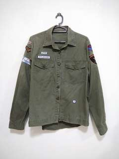 Army Green Outerwear with Patches